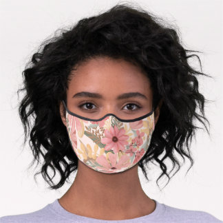 Pink Blush Flowers Leave Watercolor Safety Premium Face Mask