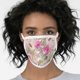 Pink Blush Watercolor Flowers Sage Green Leaves Face Mask
