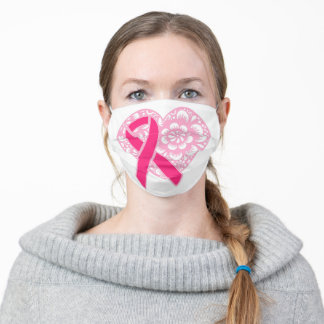 PINK BREAST CANCER RIBBONS ADULT CLOTH FACE MASK
