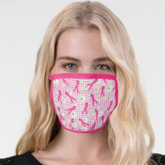 Pink breast cancer ribbons and daisy face mask
