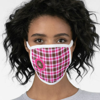 Pink & Brown Plaid Monogrammed In Scalloped Frame Face Mask