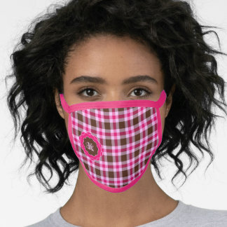 Pink & Brown Plaid With Pink Trim Monogrammed Face Mask