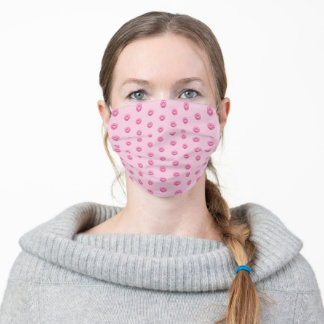 pink buttons on pink adult cloth face mask