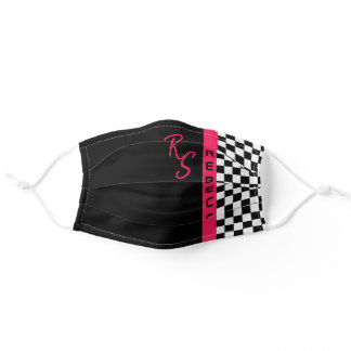 Pink Checkerboard Racing Flag Line Custom Name Adult Cloth Face Mask
