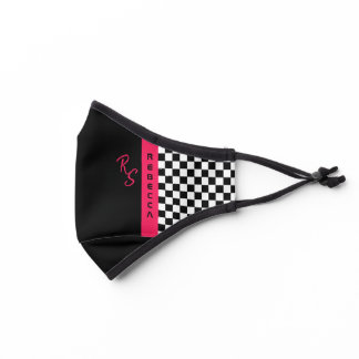 Pink Checkerboard Racing Flag Line Custom Name Premium Face Mask