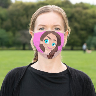 Pink color cartoon girl super cute for kids adult cloth face mask