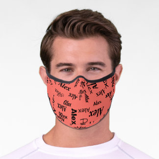 Pink Coral Monogrammed First Name Cute Cool Bright Premium Face Mask