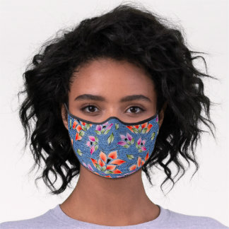 Pink Coral Orange Green Floral On Faux Blue Jeans Premium Face Mask
