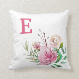 Pink Cream loral Greenery Monogram Child's Throw Pillow