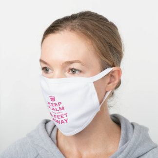 Pink Customize Keep Calm And Social Distancing White Cotton Face Mask