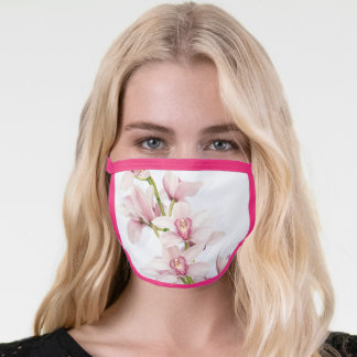 Pink Cymbidium Orchid Flower Floral Face Mask