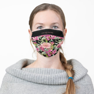 Pink Dahlia Watercolor Floral Pattern Monogram Adult Cloth Face Mask