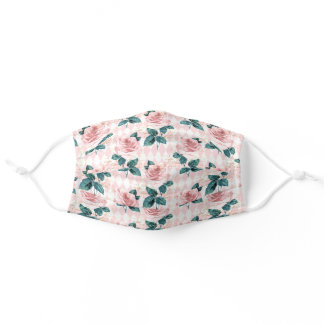 Pink Floral Green Leaves Diamond Harlequin Adult Cloth Face Mask