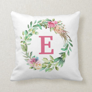 Pink Floral Greenery Wreath Monogram Child's Throw Pillow