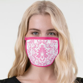 Pink floral lace mandala on white face mask