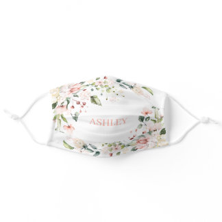 Pink Floral Monogram Watercolor Personalized Name Adult Cloth Face Mask