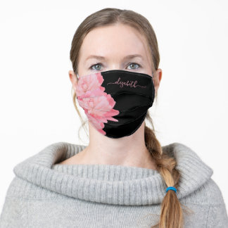 Pink florals flowers peonies black monogram adult cloth face mask