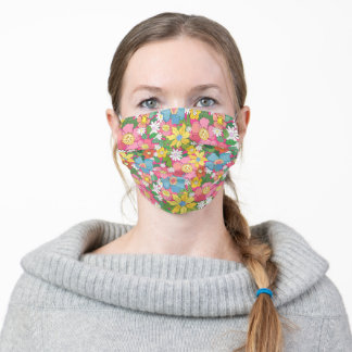 Pink Flowers Summer Adult Cloth Face Mask
