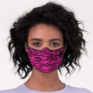 Pink Fuchsia Animal Skin Tiger Black Stripes Name Premium Face Mask