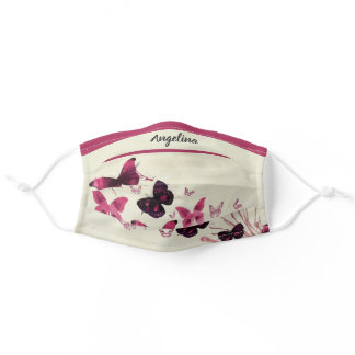Pink Fuchsia Butterfly Personalized With Name Adult Cloth Face Mask