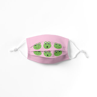 Pink Funny Frog Faces Kids' Cloth Face Mask