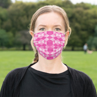 Pink geometrical triangles adult cloth face mask