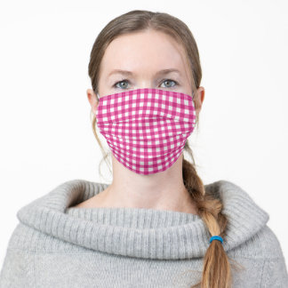 Pink Gingham Check Adult Cloth Face Mask