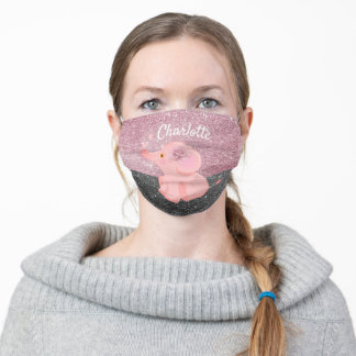 Pink Girl Elephant Rose Gold Glitter Cute Adult Cloth Face Mask