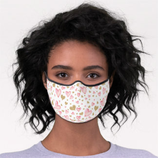 Pink Gold Heart Confetti Valentines Sweetheart Premium Face Mask