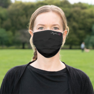 Pink Heart Minimalist Personalized Name Black Adult Cloth Face Mask