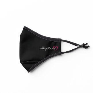 Pink Heart Minimalist Personalized Name on Black Premium Face Mask