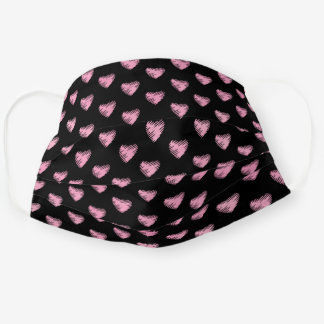 Pink Heart Pattern Editable Black Background Cloth Face Mask