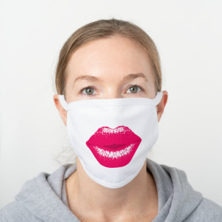 Pink Kiss Kissing Lips Lipstick Lipgloss Cool White Cotton Face Mask