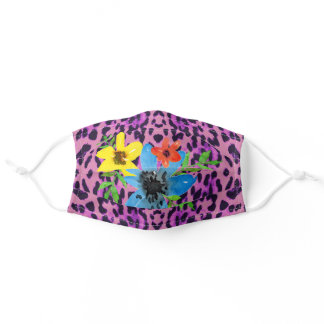 Pink Leopard Print Pattern with Colorful Flowers Adult Cloth Face Mask