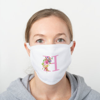 Pink Letter H Floral White Cotton Face Mask