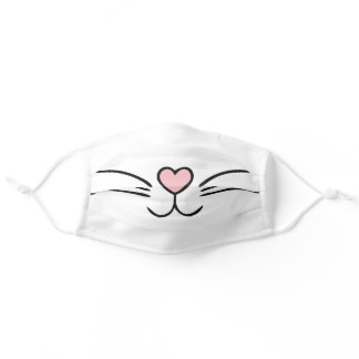 PINK NOSE AND WHISKERS GIRL'S ADULT CLOTH FACE MASK