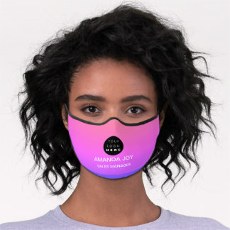 Pink Ombre Purple Business Name Logo Monogram Premium Face Mask