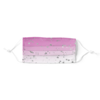 Pink Ombre Silver Stars Adult Cloth Face Mask