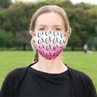 Pink Ombre Watercolor Black XOXO Heart Adult Cloth Face Mask