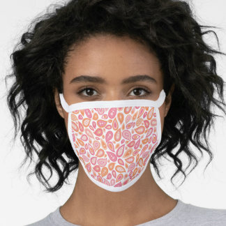 Pink Orange Paisley Pattern Face Mask