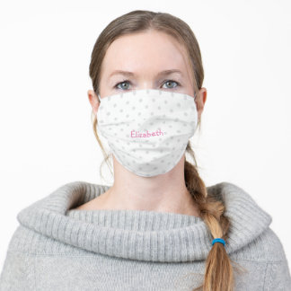 Pink Personalized Name on Grey Polka Dot Pattern Adult Cloth Face Mask
