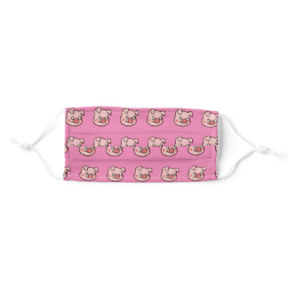 pink pigs on pink adult cloth face mask