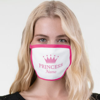 Pink princess crown and personalized name girly face mask