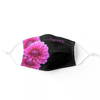Pink purple Dahlia flowers florals monogram black Adult Cloth Face Mask