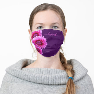 Pink purple Dahlia flowers florals name script Adult Cloth Face Mask