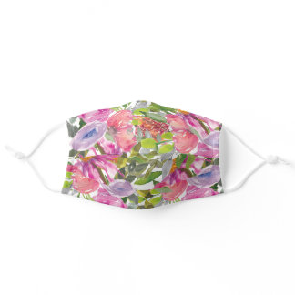 Pink Purple Flowers Green Leaves Botanical Garden Adult Cloth Face Mask