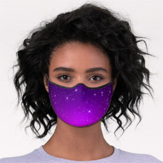 Pink Purple Sparkly Night Stars Ombre Premium Face Mask