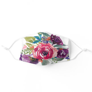 Pink Purple & Teal Watercolor Floral Adult Cloth Face Mask