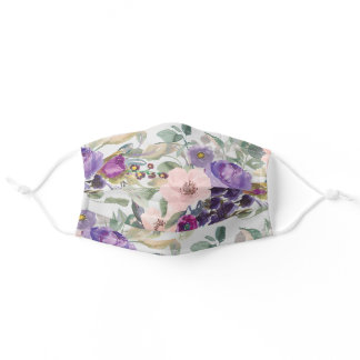 Pink Purple Watercolor Floral Sage Green Leaves Adult Cloth Face Mask