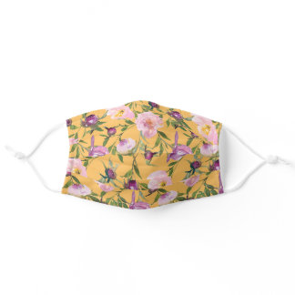 Pink Purple Watercolor Floral Yellow Adult Cloth Face Mask